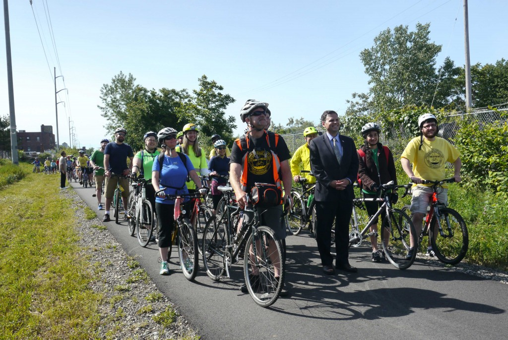 Bicyclists line up on the trail in Everett on Bike to the Sea Day, 2015.