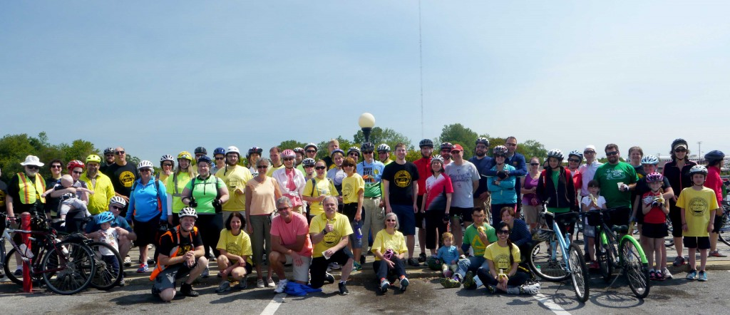 Bicyclists pose for a group photo along the way in 2015.