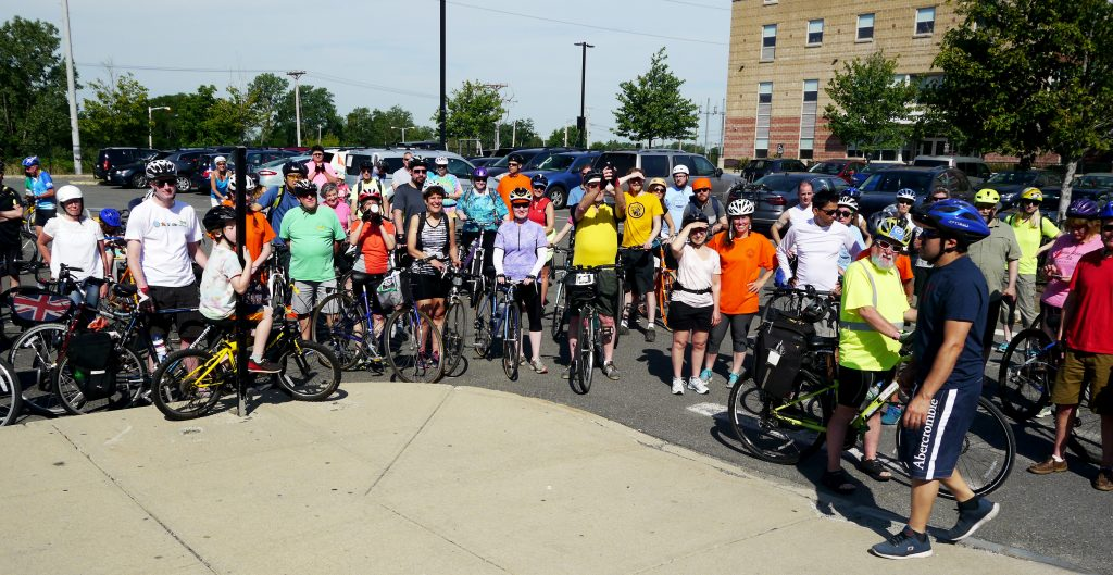 Group shot of cyclists.