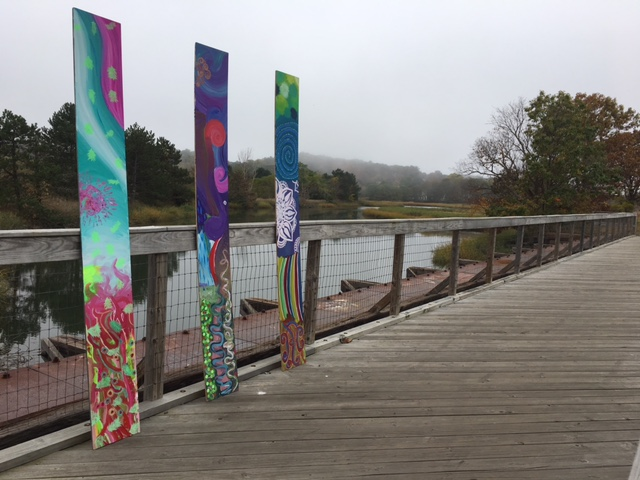 Art panels on the path.