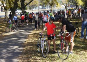 Bike riders take a break on the Fall Colors Ride.