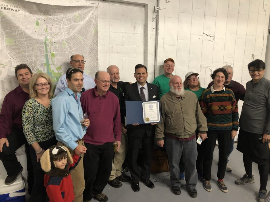 Malden Mayor Gary Christenson poses with Bike to the Sea board members.