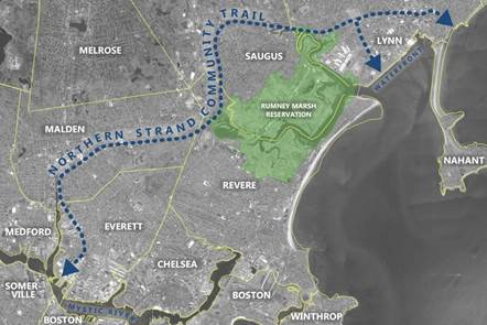 Map of the Northern Strand Community Trail as proposed by Gateway Cities Design Team.