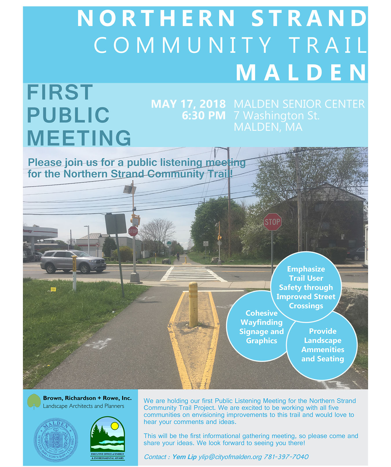 Public flyer with information on the public meeting in Malden.
