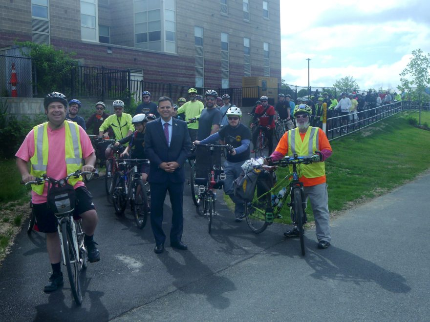 Riders pose for a photo before the ride.