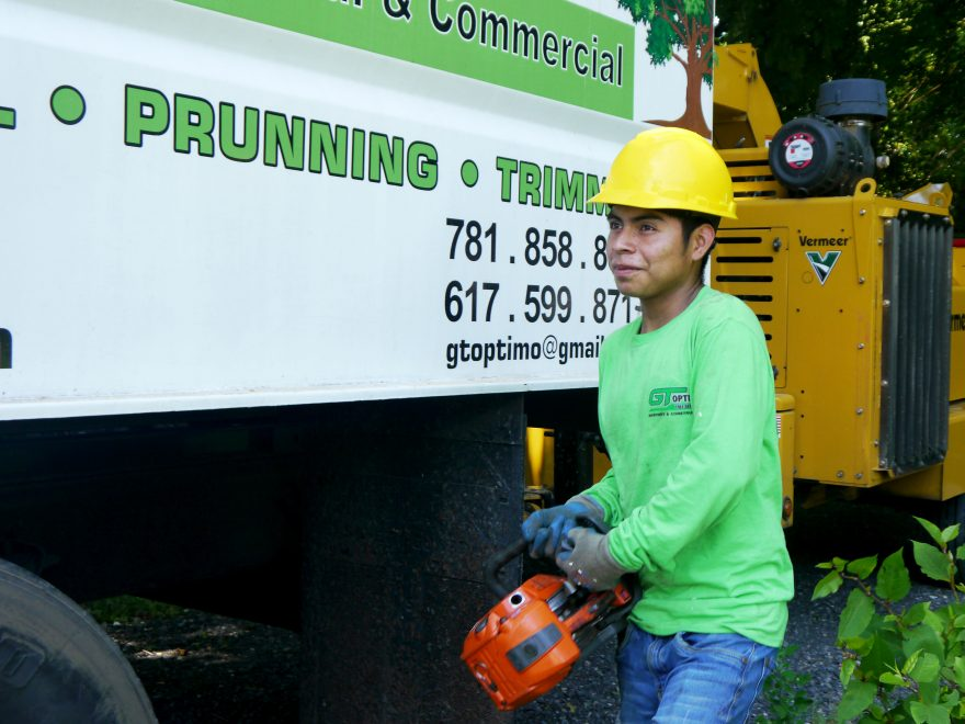 A worker holds a chainsaw next to a truck.