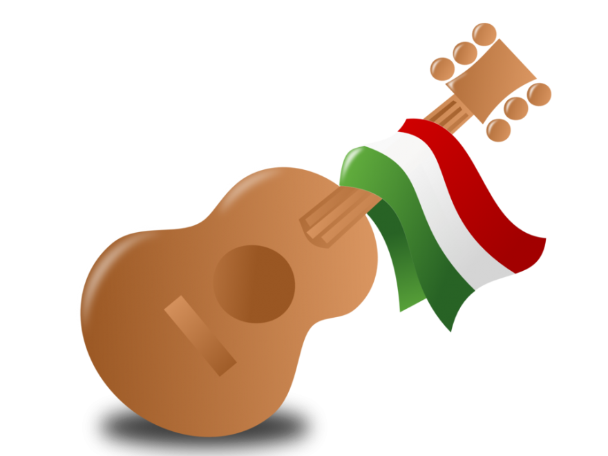 Guitar with Mexican Flag