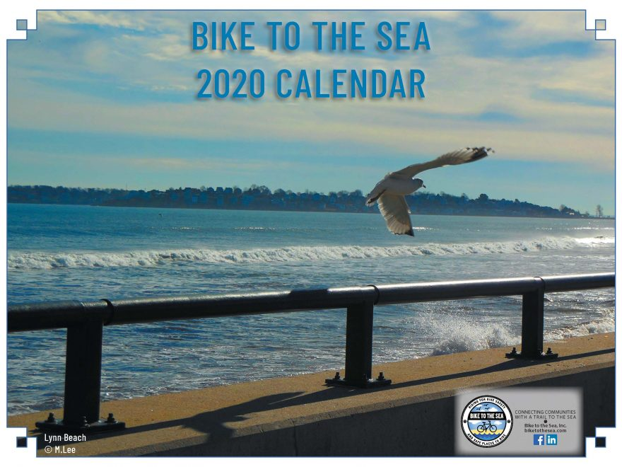 Photo of the beach in Lynn, the cover of the calendar.