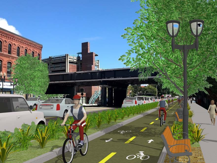 Artist rendering of trail in downtown Lynn.