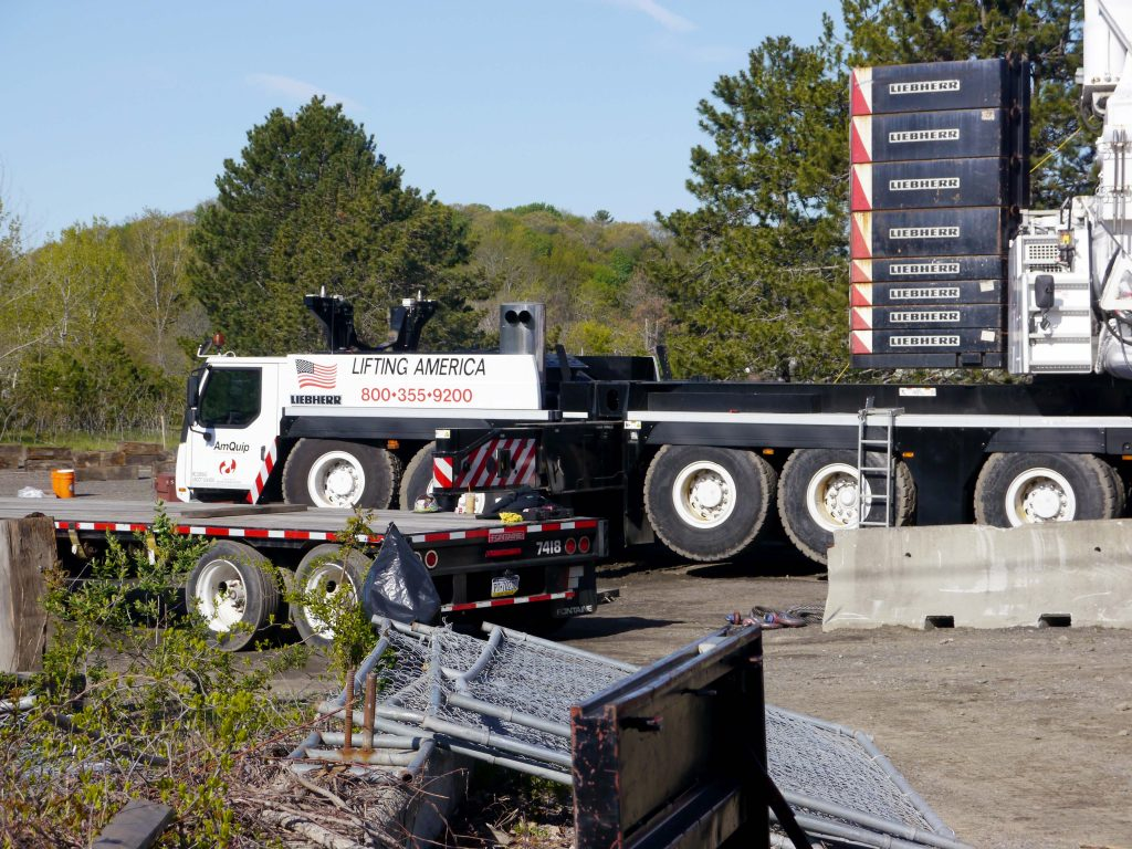 A large truck near the new bridge in Saugus.