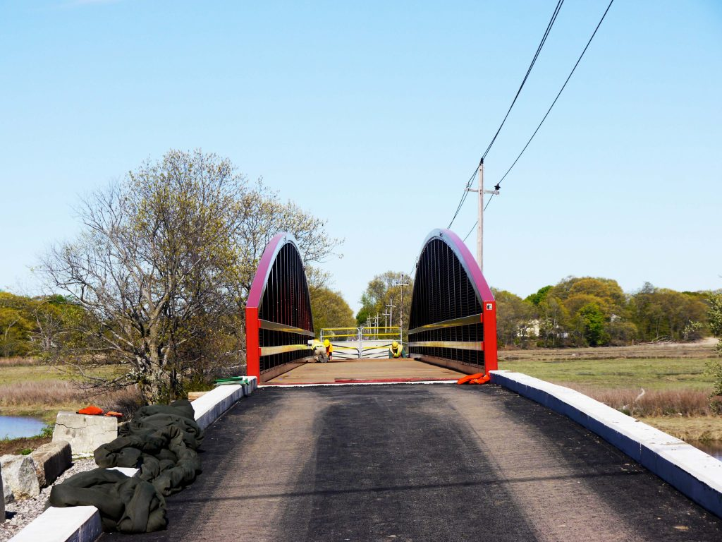 A head-on view of the new bridge in Saugus.